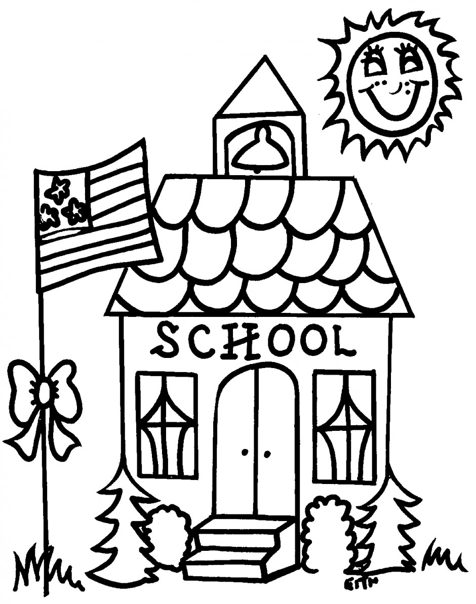 Cartoon School Supplies coloring page for kids, back to school ... | 1193x940